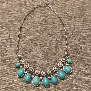 Turquoise Stone Statement Necklace Silver Chain